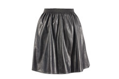 Black faux leather skirt isolated on white background. Vegan leather short skirt with elastic band cut out on white Royalty Free Stock Photos
