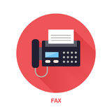 Black fax phone with paper page flat style icon. Wireless technology, office equipment sign. Vector illustration of Stock Photography