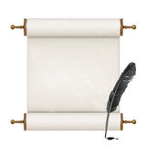 Black feather and ancient scroll Stock Photography