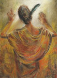 Black feather in her hair. Woman facing to the wall and a feather in her hair. Pastel crayons (chalks) on cardboard Royalty Free Stock Photography