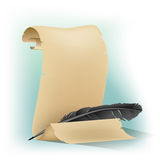 Black feather and scroll Royalty Free Stock Image