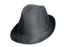 Black Fedora Hat. A black striped classic looking fedora men hat Stock Photos