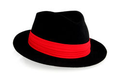 Black Fedora Hat. With red hatband, isolated on white stock images