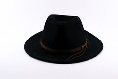 Black Fedora hat with a brown stripe Royalty Free Stock Image
