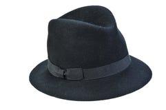 Black fedora hat. Isolated on white Stock Photo
