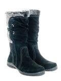 Black female boots isolated Stock Image