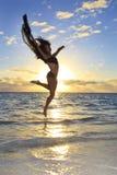 Black female dancer leaping Stock Image