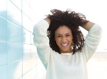 Black female fashion model smiling Stock Photography