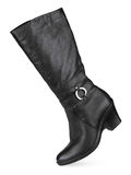 Black female fashionable leather boots Royalty Free Stock Photo