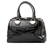 Black female handbag over white Stock Images