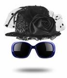 Black female hat and sunglasses isolated on white. Background Royalty Free Stock Photo