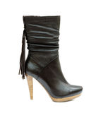 Black female leather boot Stock Images