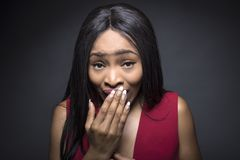 Black Female Oops Facial Expressions Stock Image