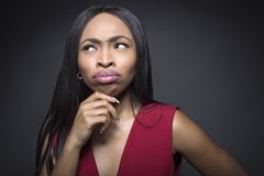 Black Female Thinking Facial Expressions Royalty Free Stock Images