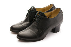 Black female pump leather shoes royalty free stock photos