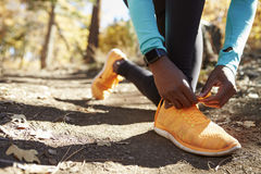 Black female runner in forest tying shoe, low section detail Royalty Free Stock Image