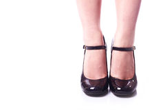 Black female shoes Stock Images