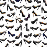 Black female shoes background-3 Royalty Free Stock Photos