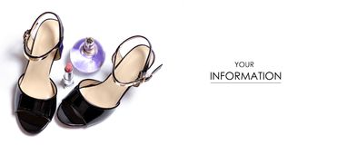 Black female shoes sandals and parfume pattern. On a white background isolation Stock Image