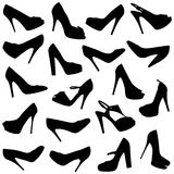 Black female shoes silhouettes- Stock Photo