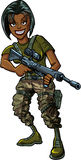 Black female soldier with assault rifle Stock Photos