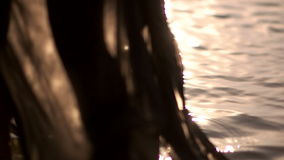 Black female wet clothes dress on the surface of the water slides stock video footage