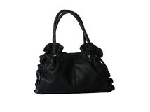 Black feminine leather bag on white Royalty Free Stock Photos