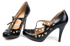 Black feminine loafers on high heel Stock Photography
