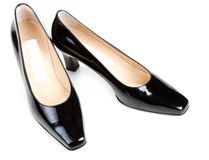 Black feminine varnished loafers Stock Image