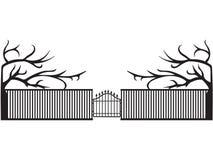 Vector black elegant fence with gates illustration royalty free illustration
