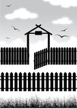Black fence with gate - elements Royalty Free Stock Image