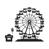 Black ferris wheel with cash desk. Concept of skyline, tower badge, event, admission, access, cityscape, shop, celebration. flat style trend modern logo design Stock Image