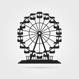 Black ferris wheel with shadow. Concept of skyline, tower badge, event, admission, access, cityscape, pleasure, celebration. flat style trend modern logo Royalty Free Stock Image