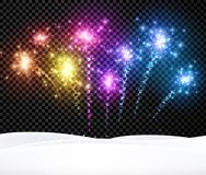 Festive Christmas background with firework. Black festive Christmas background with fireworks. Vector illustration Stock Photography