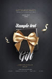 Black Festive flyer or poster. Top view on gift box and bow with beautiful backdrop Stock Photography