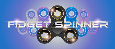Black fidget finger spinner horizontal web banner with white text. Stress relief hand toy with light effect flare. Vector Stock Images
