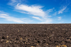 Black field and blue sky. Texture of cultivated field and sky. Black plowed field and blue sky with clouds. Agriculture Stock Photos