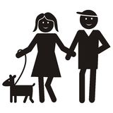 Black figure, people with dog. Figure, lady and man with dog, vector black icon. People with dog on a walk Stock Photo