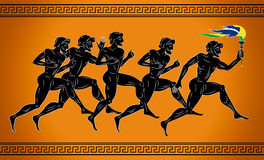 Black-figured runners with the torch in the colors of the Brazilian flag. Illustration in the ancient Greek style. Royalty Free Stock Images