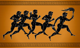 Black-figured sport runners with the torch. Illustration in the ancient Greek style. The concept of the sport Games. Stock Image