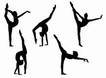 Black figures of gymnasts on a white background. Five gymnasts silhouettes on a black background. Acrobatics, gymnastics and sports Stock Image