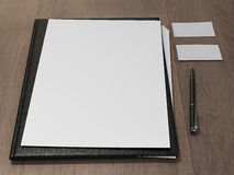 Black file with white blank sheet Stock Photo