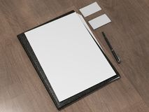 Black file with white blank sheet Stock Photos