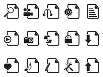 Black Files and Documents icons set Royalty Free Stock Photos