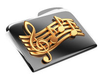 Black files folder, 3d icon with musical notes. Isolated on a white Royalty Free Stock Photography