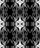 Black filigree damask. Seamless white on black vintage filigree and damask pattern (wallpaper, wedding and engagement decoration, background, decor, textiles Royalty Free Stock Photo
