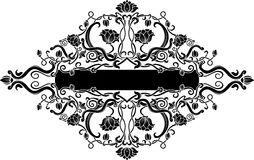 Black filigree floral banner Stock Image