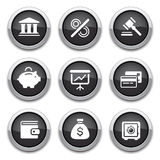 Black finance buttons. Black shiny finance buttons for design Royalty Free Stock Photography