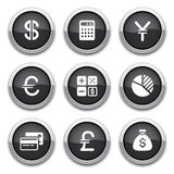 Black finance buttons. Black shiny finance buttons for design Stock Image