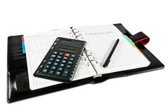 Black financial diary. Financial diary with clipping path and pen Royalty Free Stock Photography